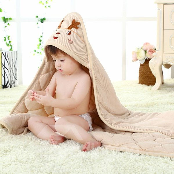 Adorable Deer Thickened 100% Cotton Baby Blanket