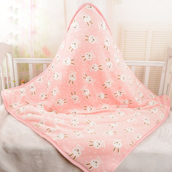 Super Lovely Rabbit Pattern Warm Flannel Baby Blanket