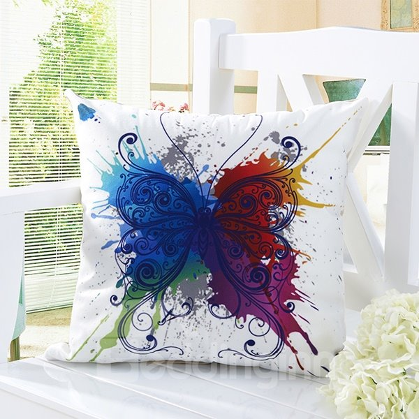 Pastoral Style Butterfly Print Comfy White Throw Pillow