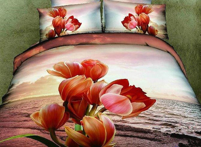Graceful Comfy Flowers Print 2-Piece Pillow Cases