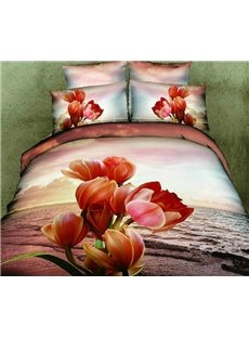Gorgeous Sunset Flower Print Cotton Bed Skirt