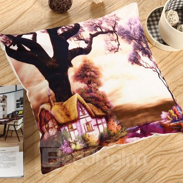 Dreamlike Fairyland Printing Comfy Polyester Throw Pillow