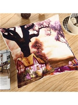 Dreamlike Fairyland Printing Comfy Polyester Throw Pillow
