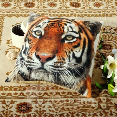 Fluffy Vivid 3D Tiger Digital Printing Throw Pillow