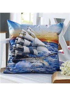 Fluffy Sail Boat 3D Digital Printing Throw Pillow