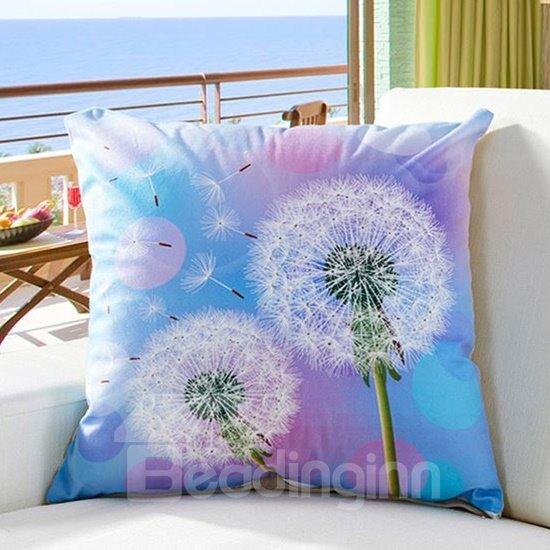 Fluffy Dreamlike Dandelion Digital Print Throw Pillow