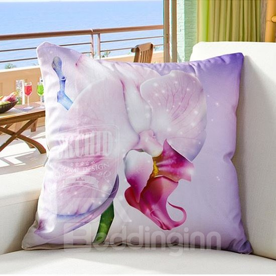 Vivid 3D Flower Digital Printing Lilac Throw Pillow
