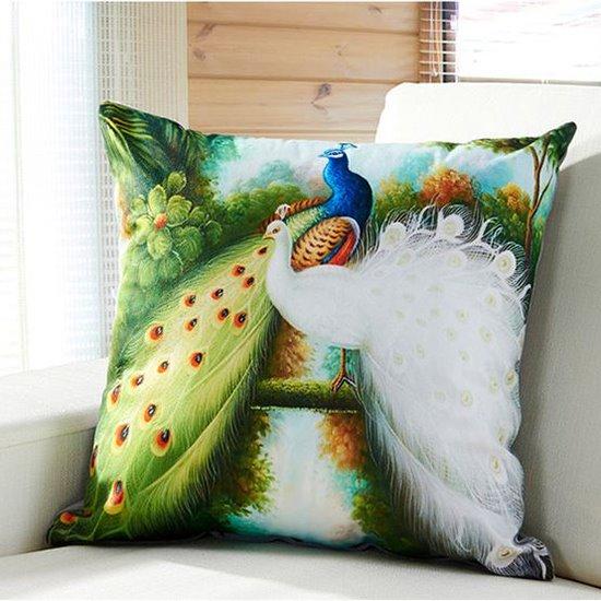 Gorgeous Green & White Peacock Digital Print Throw Pillow