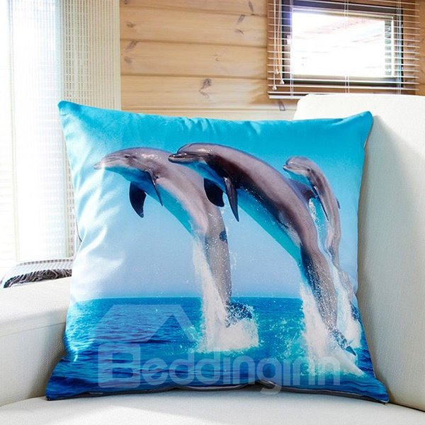 Dynamic Adorable Jumping Dolphin Print Blue Throw Pillow