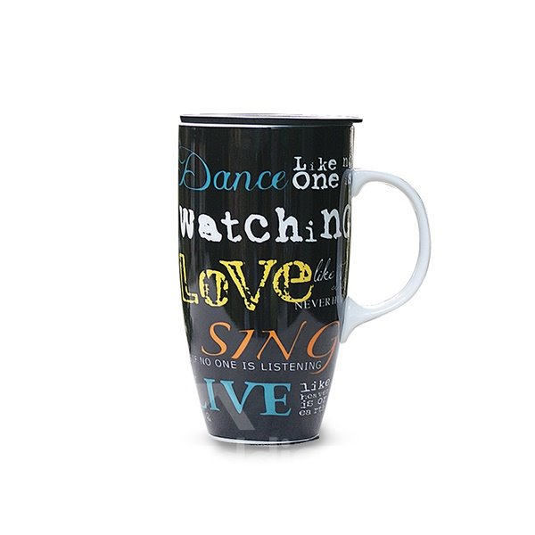European Style Large-Volume Cool Letters and Words Ceramics Coffee Mug