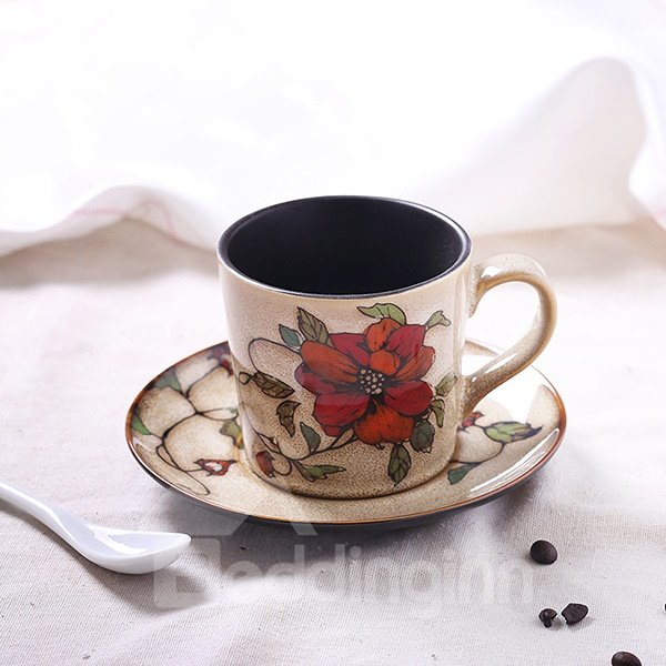 Gorgeous Hand-Painted Red Flowers Ceramic Coffee Cup Sets