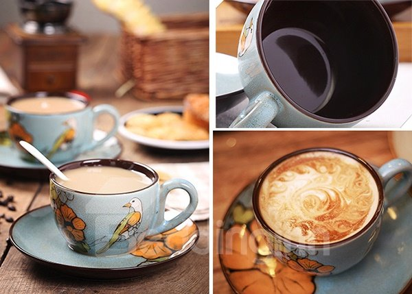 Chic Ceramics Hand-Painted Flower and Birds Coffee Mug Sets