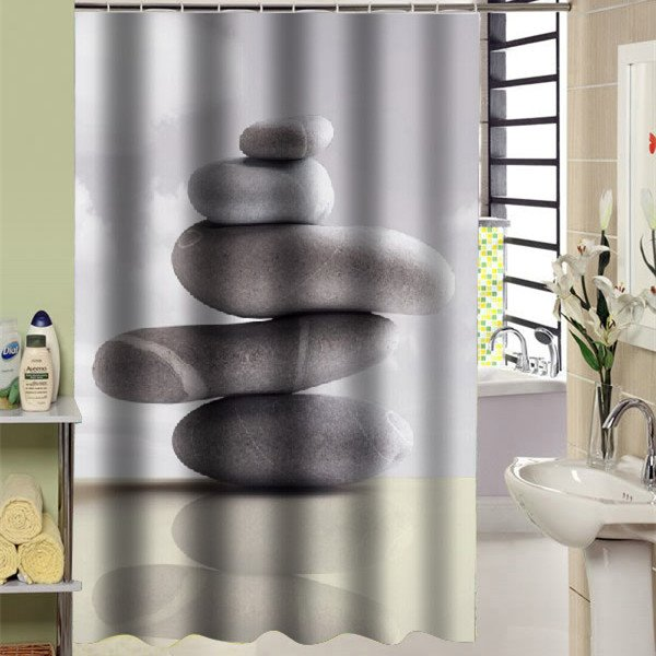Vivid 3D Stones Print Light Shading Shower Curtain