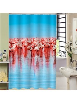 Creative Design Flamingos Print Bathroom Shower Curtain