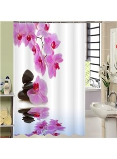 Unique Red Fringed Iris and Black Stone Printing 3D Shower Curtain