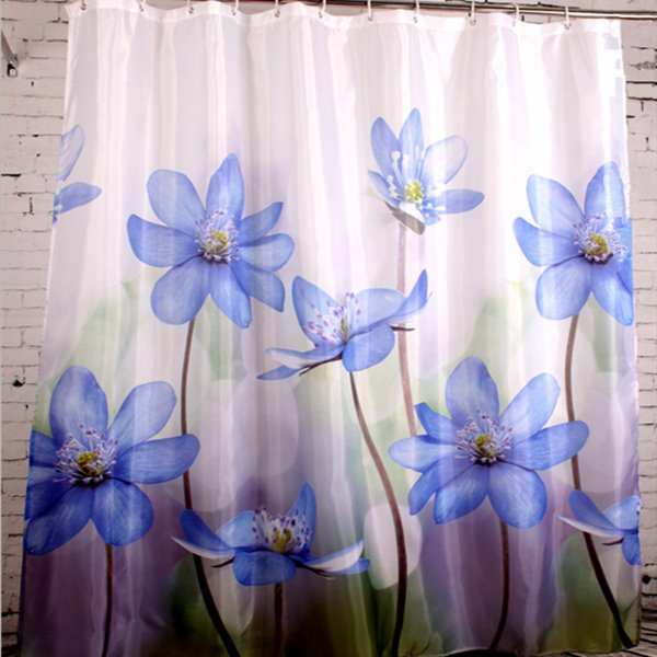 Elegant Purple Flower Print Waterproof Shower Curtain