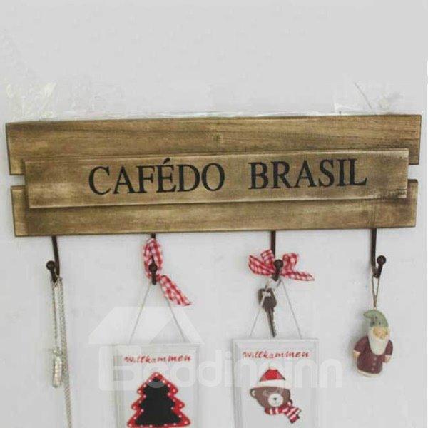 Vintage Cafedo Brasil Wooden 4-Hook Wall Hooks