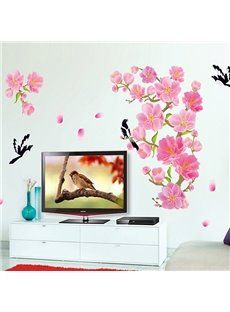 Gorgeous Peach Blossom and Magpie Removable TV Background Wall Sticker
