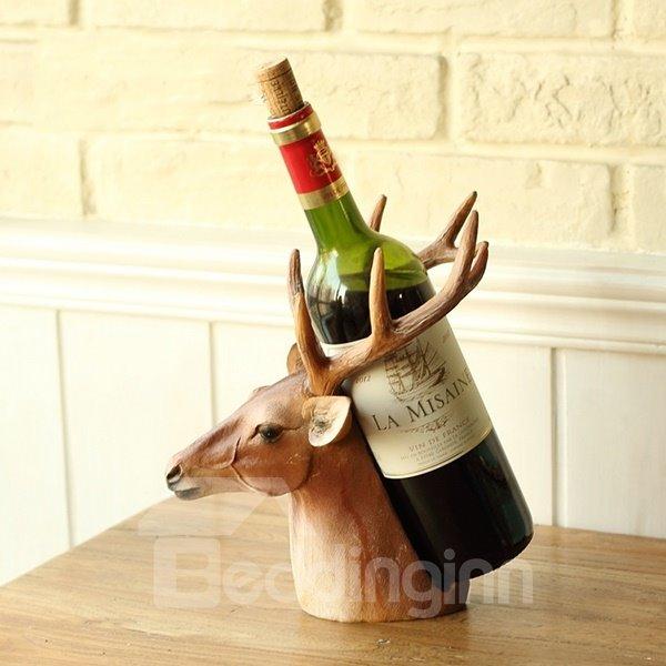 Unique Decorative Deer Head Resin 1-Bottle Wine Rack Bottle Holder
