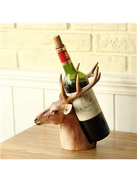 Unique Decorative Deer Head Resin 1-Bottle Wine Rack Bottle Holder