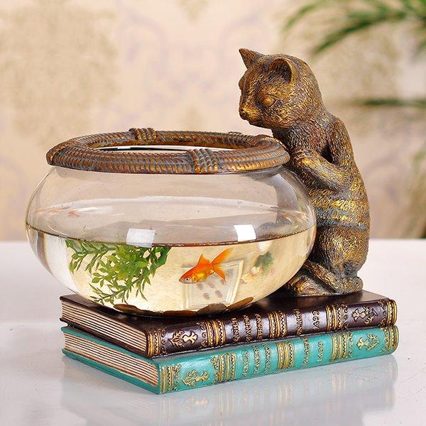 How To Decorate Fish Bowl: Creative Cute Little Cat Fish Bowl Desktop Decoration