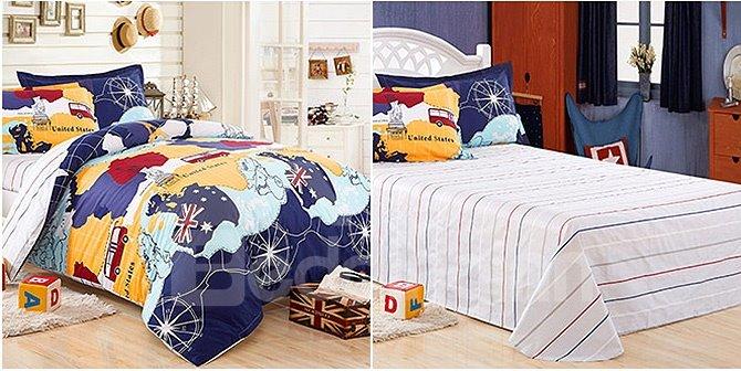 World Travel Theme Kids Organic Cotton 3 Piece Duvet Cover
