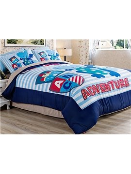 Cute Dragon Adventure Kids 4-Piece Duvet Cover Set