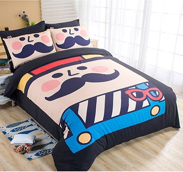 Happy Mustache Kids 4-Piece Duvet Cover Set