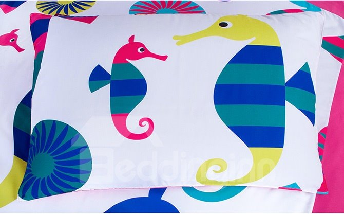 Lovely Sea Horse Print 4-Piece Kids Duvet Cover Set