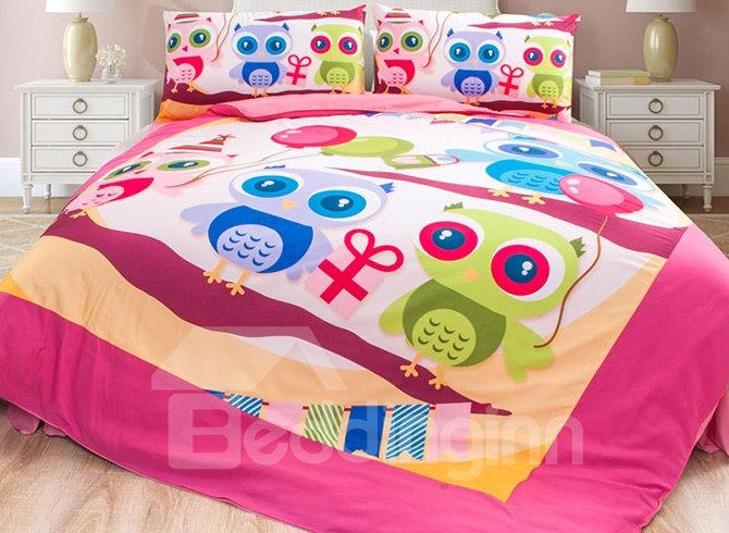 Colorful Cute Owls Pattern 4-Piece Duvet Cover Set