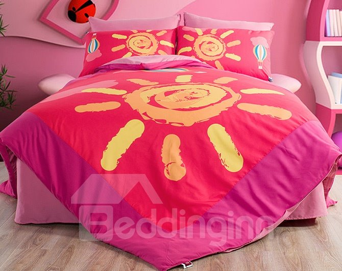 Pink Sun Pattern Kids 4-Piece Duvet Cover Sets