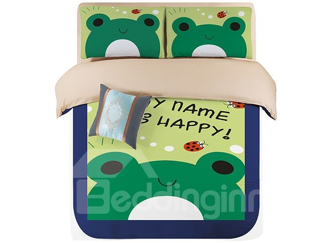 Bright Green Lovely Frogs Kids 4-Piece Duvet Cover Set