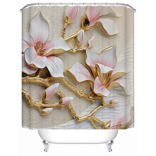 Amazing 3D Magnolia Flower Pattern Shower Curtain