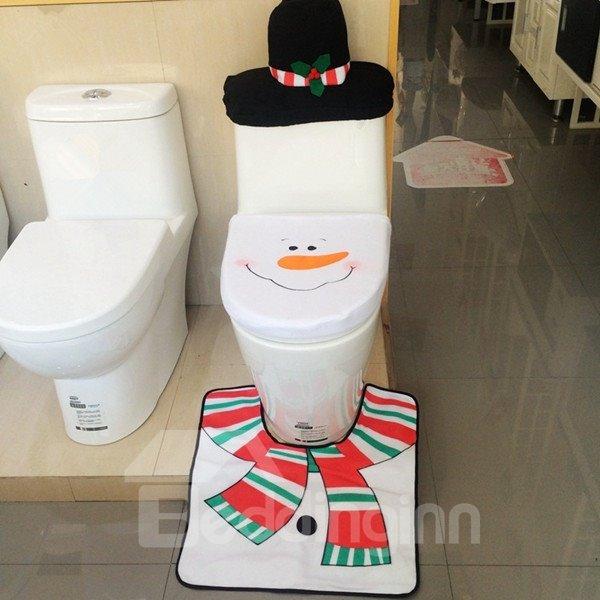 Wonderful Lovely Snowman Design 3-Pieces Toilet Seat Cover Set