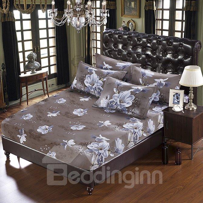 Delicate White Flowers Print 5-Piece Cotton Comforter Sets