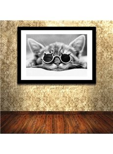 Creative Black and White Hippy Cat in Sunglasses 1-Panel Framed Wall Art Print