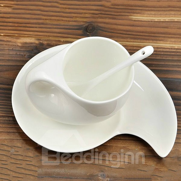 Exquisite Flawless Seashell Shaped Ceramics Coffee Cup with Saucer