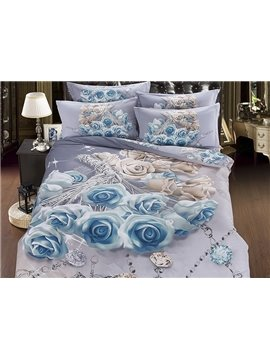 Luxury Diamond Blue Rose Printing 5-Piece Cotton Comforter Sets