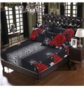 Mysterious Blooming Rose Printing 5-Piece Cotton Black Comforter Sets