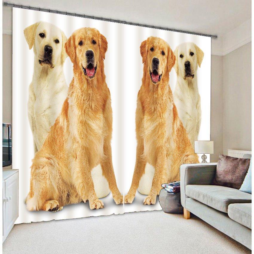 Symmetric Dogs Print Functional 3D Blackout Curtain