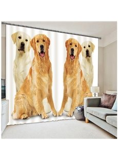 Symmetric Dogs Print Functional 3D Blackout Curtain