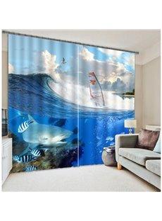 Hot Selling Fish Sailing Boat 3D Blackout Curtain