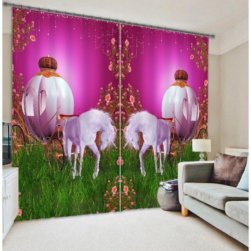 Elegant Magic White Horses Versatile Printing 3D Curtain