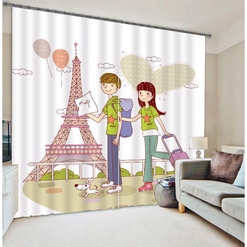 Romantic Cartoon Lovers 3D Blackout Curtain