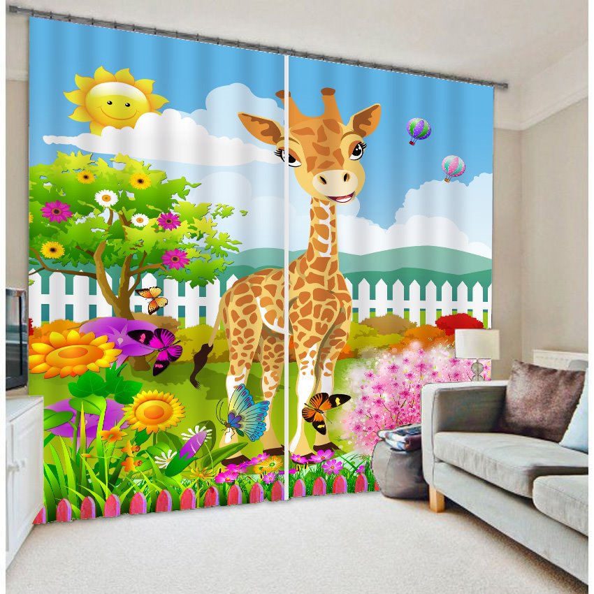 Cute Child Cartoon Garden and Garden Printing 3D Curtain