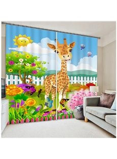 Cute Child Cartoon Garden and Garden Printing 3D Curtain