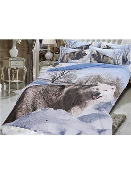 Wolf in the Snowfield Printing 5-Piece Comforter Sets