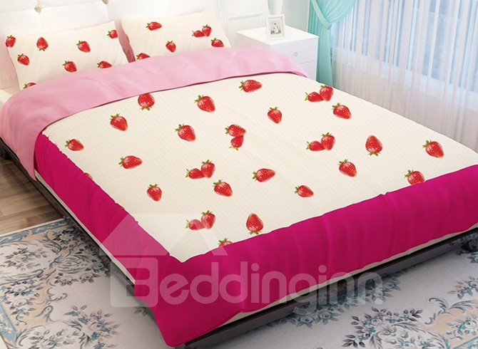 Vivid Strawberry Pattern Kids 4-Piece Duvet Cover Sets