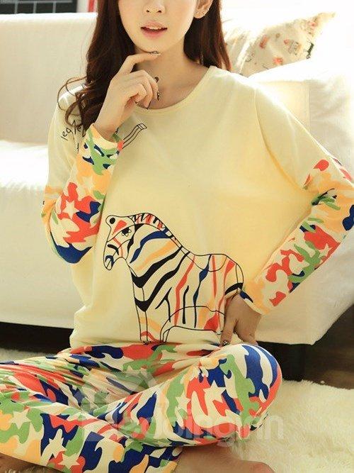 Wonderful Camouflage Zebra Pattern Batwing Sleeves Pajama Set