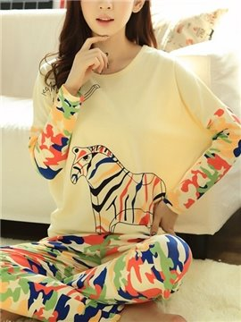 Wonderful Camouflage Zebra Pattern Batwing Sleeves Pajama Set